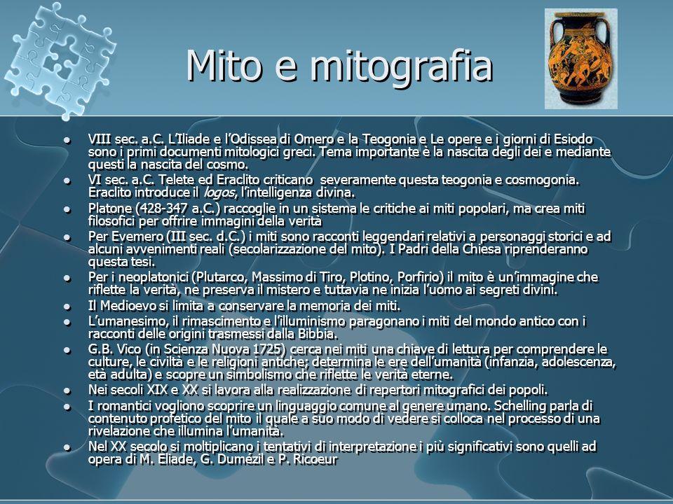 Mito e mitografia VIII sec. a.C. L'Iliade e l'Odissea di Omero e la Teogonia e Le opere e i giorni di Esiodo sono i primi documenti mitologici greci.