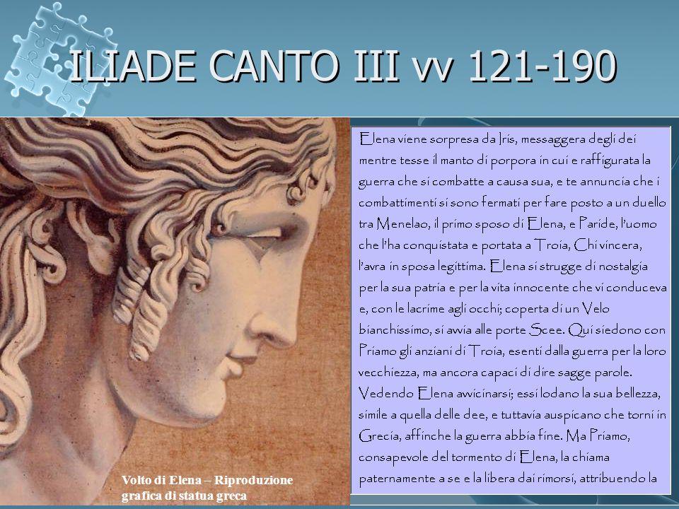 ILIADE CANTO III vv 121-190 Volto di Elena – Riproduzione grafica di statua greca