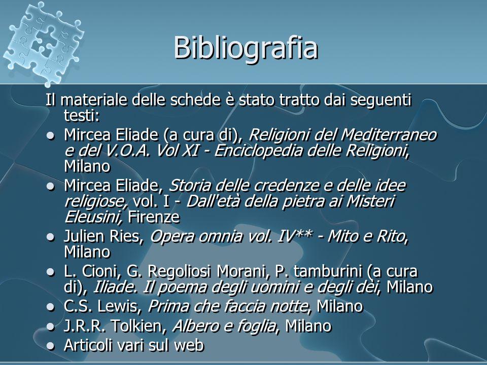Bibliografia Il materiale delle schede è stato tratto dai seguenti testi: Mircea Eliade (a cura di), Religioni del Mediterraneo e del V.O.A.