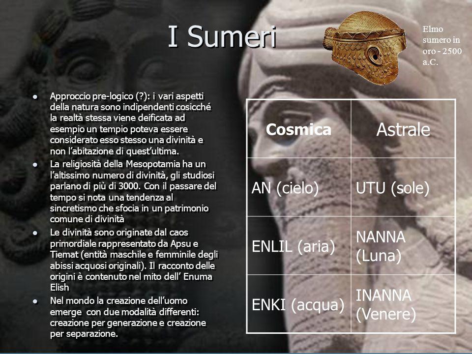 I Sumeri Approccio pre-logico (?): i vari aspetti della natura sono indipendenti cosicché la realtà stessa viene deificata ad esempio un tempio poteva
