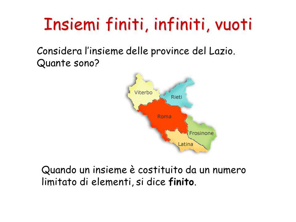 Insiemi finiti, infiniti, vuoti Considera l'insieme delle province del Lazio. Quante sono? Quando un insieme è costituito da un numero limitato di ele