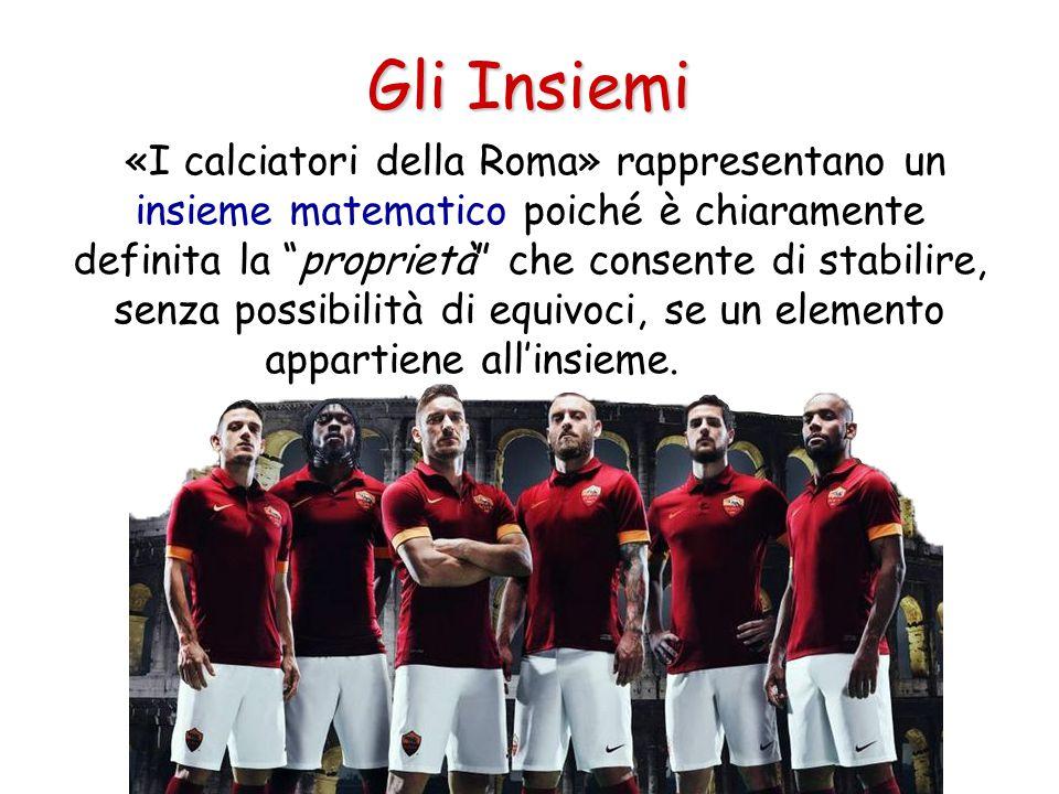 """Gli Insiemi «I calciatori della Roma» rappresentano un insieme matematico poiché è chiaramente definita la """"proprietà"""" che consente di stabilire, senz"""