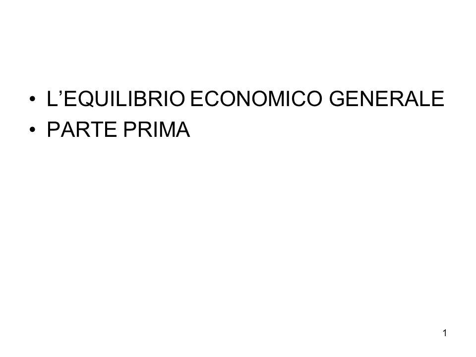 1 L'EQUILIBRIO ECONOMICO GENERALE PARTE PRIMA