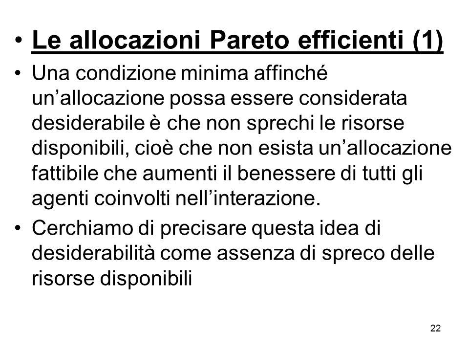 22 Le allocazioni Pareto efficienti (1) Una condizione minima affinché un'allocazione possa essere considerata desiderabile è che non sprechi le risor
