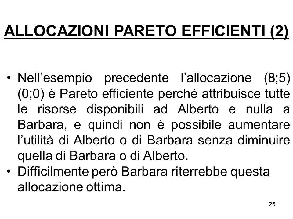 26 Nell'esempio precedente l'allocazione (8;5) (0;0) è Pareto efficiente perché attribuisce tutte le risorse disponibili ad Alberto e nulla a Barbara,
