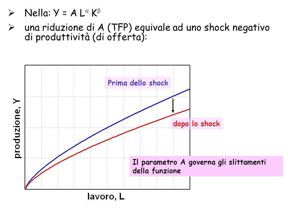  Nella: Y = A L  K   una riduzione di A (TFP) equivale ad uno shock negativo di produttività (di offerta): Prima dello shock dopo lo shock Il parametro A governa gli slittamenti della funzione