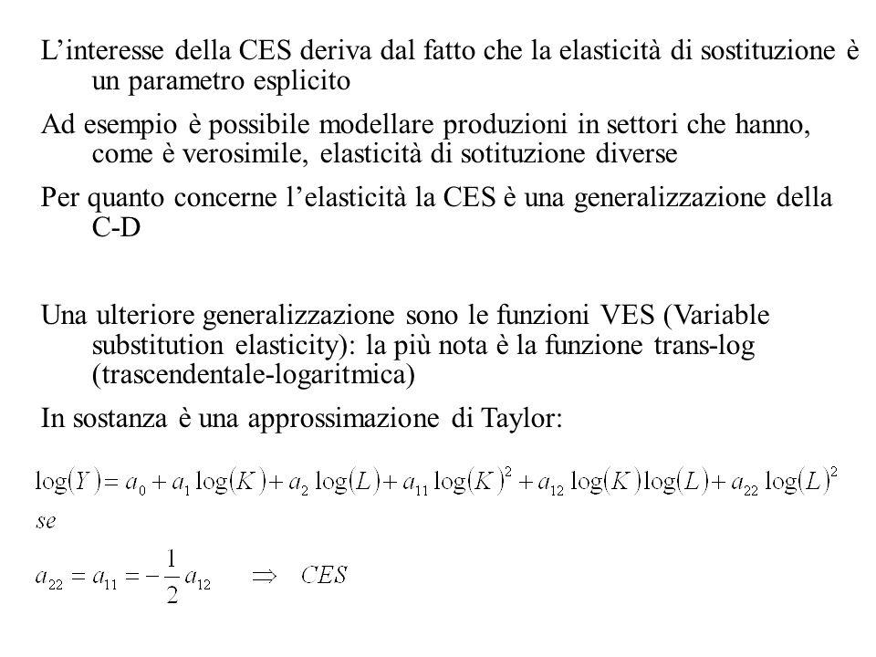 L'interesse della CES deriva dal fatto che la elasticità di sostituzione è un parametro esplicito Ad esempio è possibile modellare produzioni in settori che hanno, come è verosimile, elasticità di sotituzione diverse Per quanto concerne l'elasticità la CES è una generalizzazione della C-D Una ulteriore generalizzazione sono le funzioni VES (Variable substitution elasticity): la più nota è la funzione trans-log (trascendentale-logaritmica) In sostanza è una approssimazione di Taylor: