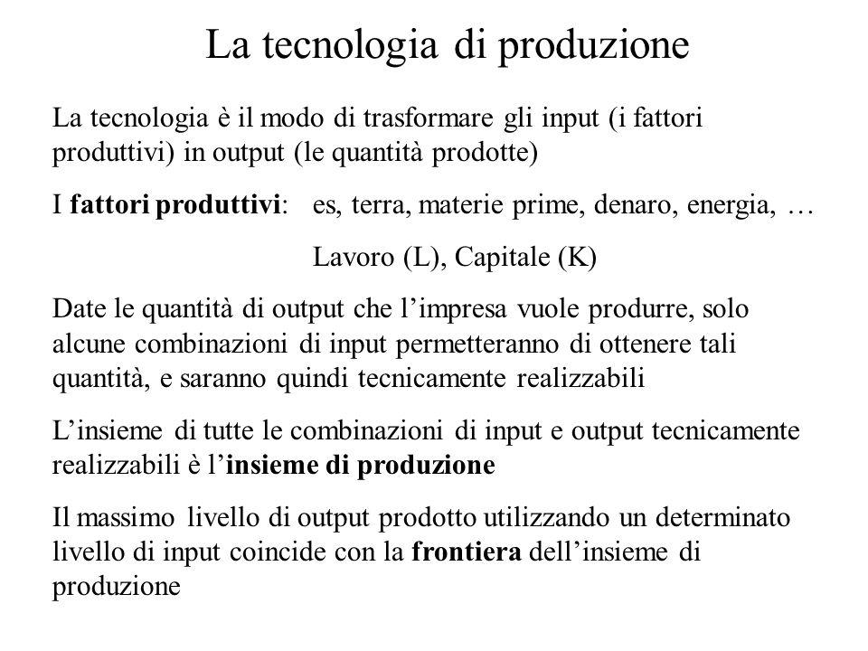 La tecnologia di produzione La tecnologia è il modo di trasformare gli input (i fattori produttivi) in output (le quantità prodotte) I fattori produttivi: es, terra, materie prime, denaro, energia, … Lavoro (L), Capitale (K) Date le quantità di output che l'impresa vuole produrre, solo alcune combinazioni di input permetteranno di ottenere tali quantità, e saranno quindi tecnicamente realizzabili L'insieme di tutte le combinazioni di input e output tecnicamente realizzabili è l'insieme di produzione Il massimo livello di output prodotto utilizzando un determinato livello di input coincide con la frontiera dell'insieme di produzione