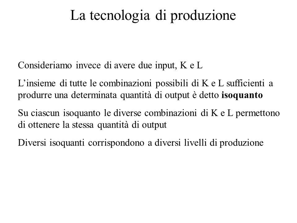 La tecnologia di produzione Consideriamo invece di avere due input, K e L L'insieme di tutte le combinazioni possibili di K e L sufficienti a produrre una determinata quantità di output è detto isoquanto Su ciascun isoquanto le diverse combinazioni di K e L permettono di ottenere la stessa quantità di output Diversi isoquanti corrispondono a diversi livelli di produzione
