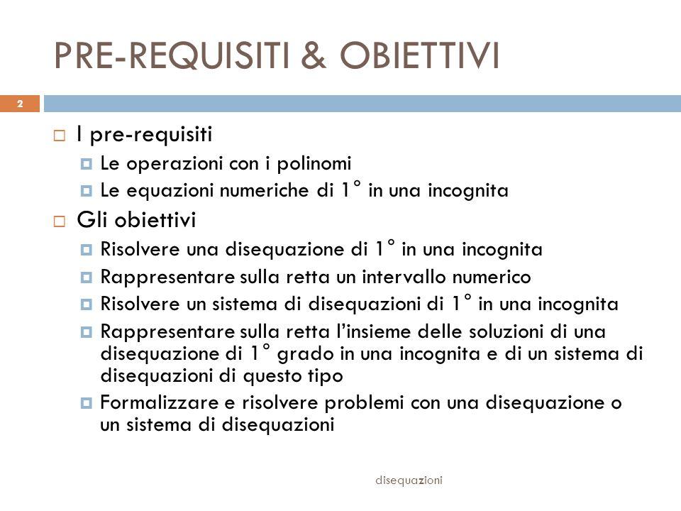 PRE-REQUISITI & OBIETTIVI  I pre-requisiti  Le operazioni con i polinomi  Le equazioni numeriche di 1° in una incognita  Gli obiettivi  Risolvere