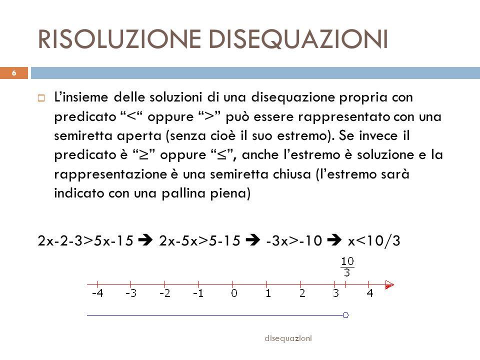 SISTEMI DI DISEQUAZIONI disequazioni 7  Si risolvono le singole disequazioni, tracciando le semirette delle soluzioni  Si confrontano le semirette delle soluzioni, cercando le parti comuni a tutte 3(3x-1)-2(x-3)≤6+x-29x-3-2x+6≤x+4 (x+1) 2 -(x-1) 2 >-12x 2 +2x+1-x 2 +2x-1>-12 7x+3≤x+46x≤1x≤1/6 4x>-12x>-3x>-3
