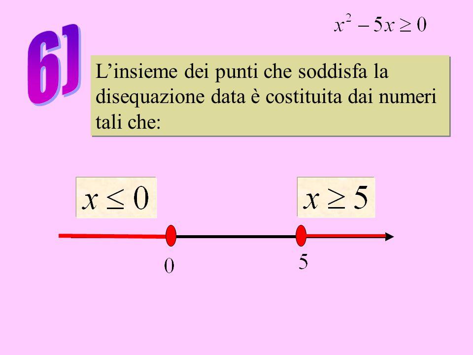 L'insieme dei punti che soddisfa la disequazione data è costituita dai numeri tali che: L'insieme dei punti che soddisfa la disequazione data è costituita dai numeri tali che:
