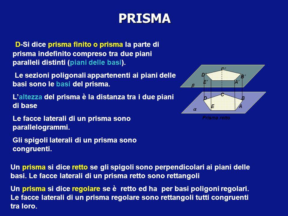 POLIEDRI. Se il poligono che genera il prisma ha n lati (n vertici) il prisma risulta delimitato da n diedri. Le sezioni di un prisma indefinito con p