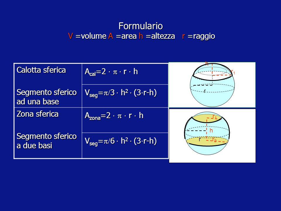 r Formulario V =volume A L = area laterale A T =area totale S=superficie sfera a= apotema h =altezza r =raggio Tronco cono retto A L   (r 1 +r 2 )