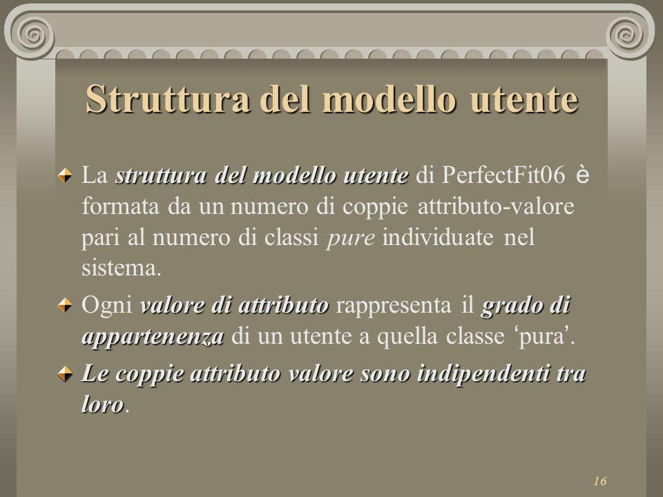 16 Struttura del modello utente struttura del modello utente La struttura del modello utente di PerfectFit06 è formata da un numero di coppie attributo-valore pari al numero di classi pure individuate nel sistema.