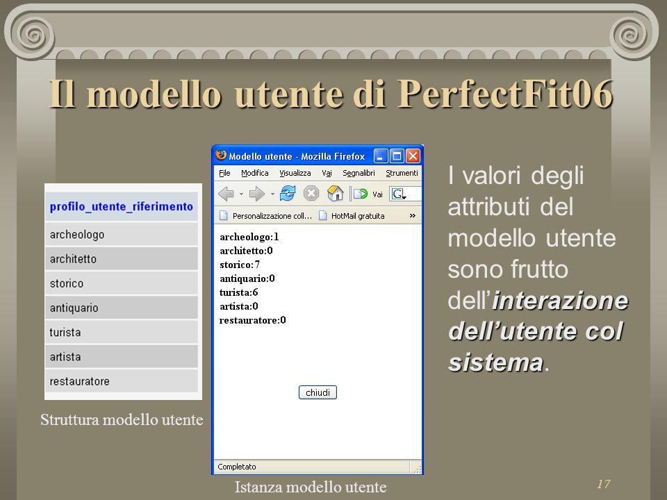 17 Il modello utente di PerfectFit06 interazione dell'utente col sistema I valori degli attributi del modello utente sono frutto dell'interazione dell'utente col sistema.