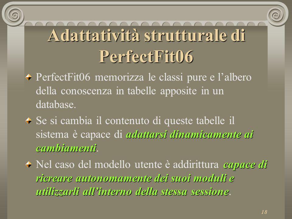 18 Adattatività strutturale di PerfectFit06 PerfectFit06 memorizza le classi pure e l'albero della conoscenza in tabelle apposite in un database.
