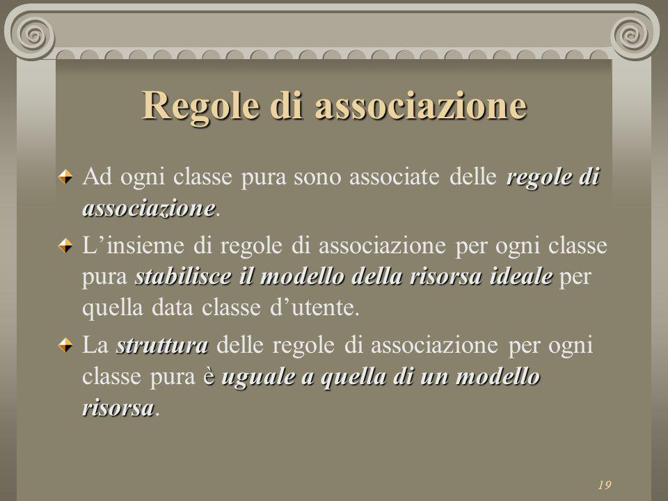 19 Regole di associazione regole di associazione Ad ogni classe pura sono associate delle regole di associazione.