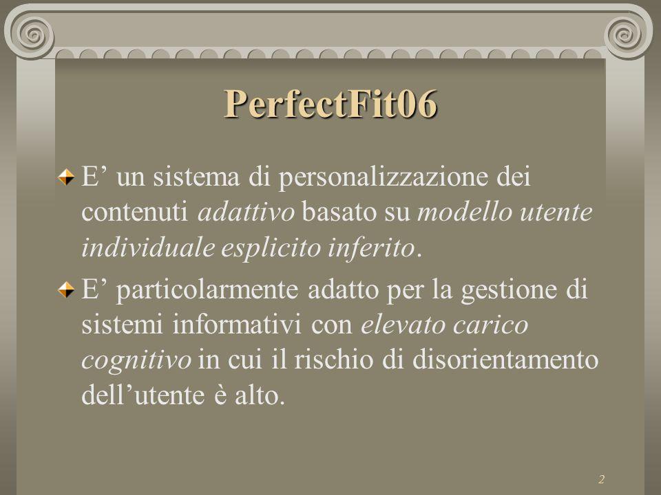 3 PerfectFit06 L'utente interagisce con PF06 come con qualsiasi sito web PF06 analizza il comportamento dell'utente per modellarlo PF06 usa il modello utente per selezionare i contenuti interessanti