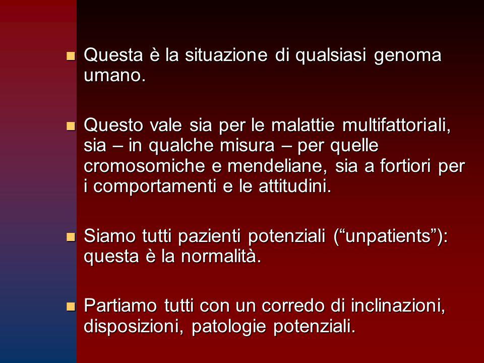 n Questa è la situazione di qualsiasi genoma umano. n Questo vale sia per le malattie multifattoriali, sia – in qualche misura – per quelle cromosomic