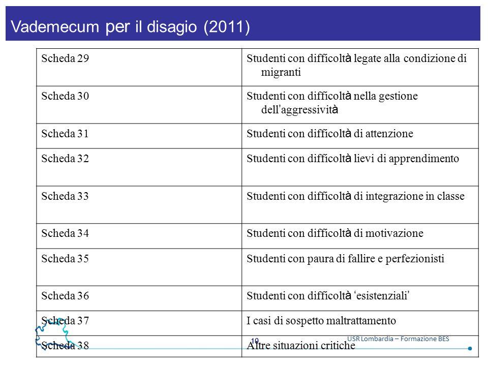 10 USR Lombardia – Formazione BES Vademecum per il disagio (2011) Scheda 29 Studenti con difficolt à legate alla condizione di migranti Scheda 30 Stud