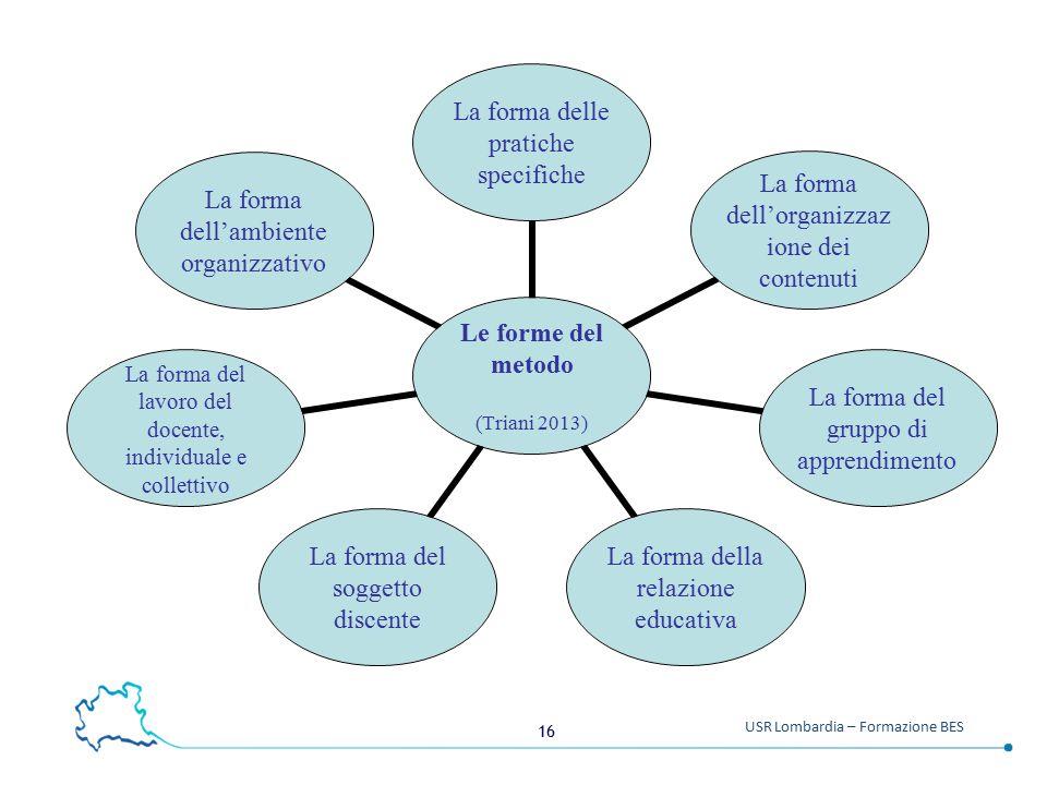 16 USR Lombardia – Formazione BES Le forme del metodo (Triani 2013) La forma delle pratiche specifiche La forma dell'organizzazione dei contenuti La f