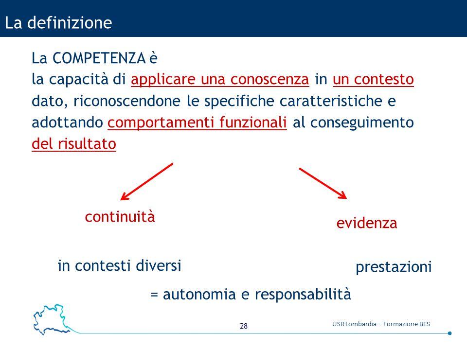 28 USR Lombardia – Formazione BES La definizione La COMPETENZA è la capacità di applicare una conoscenza in un contesto dato, riconoscendone le specif