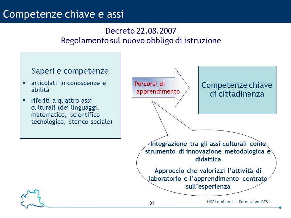 31 USR Lombardia – Formazione BES Competenze chiave e assi Decreto 22.08.2007 Regolamento sul nuovo obbligo di istruzione Percorsi di apprendimento Sa