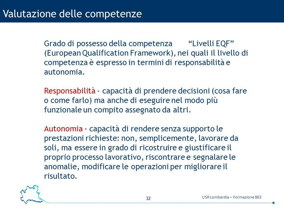 """32 USR Lombardia – Formazione BES Valutazione delle competenze Grado di possesso della competenza """"Livelli EQF"""" (European Qualification Framework), ne"""