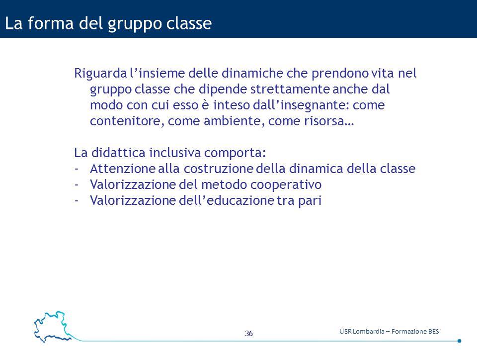 36 USR Lombardia – Formazione BES La forma del gruppo classe Riguarda l'insieme delle dinamiche che prendono vita nel gruppo classe che dipende strett
