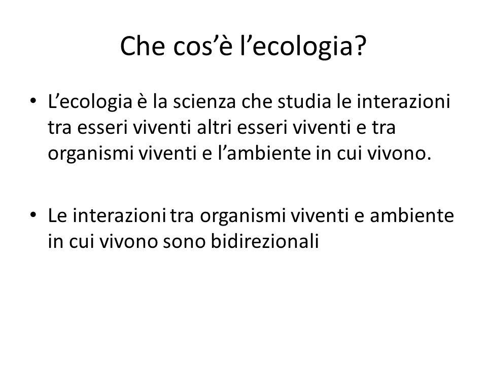 Che cos'è l'ecologia? L'ecologia è la scienza che studia le interazioni tra esseri viventi altri esseri viventi e tra organismi viventi e l'ambiente i