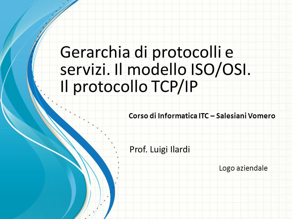 Logo aziendale Gerarchia di protocolli e servizi. Il modello ISO/OSI. Il protocollo TCP/IP Prof. Luigi Ilardi Corso di Informatica ITC – Salesiani Vom