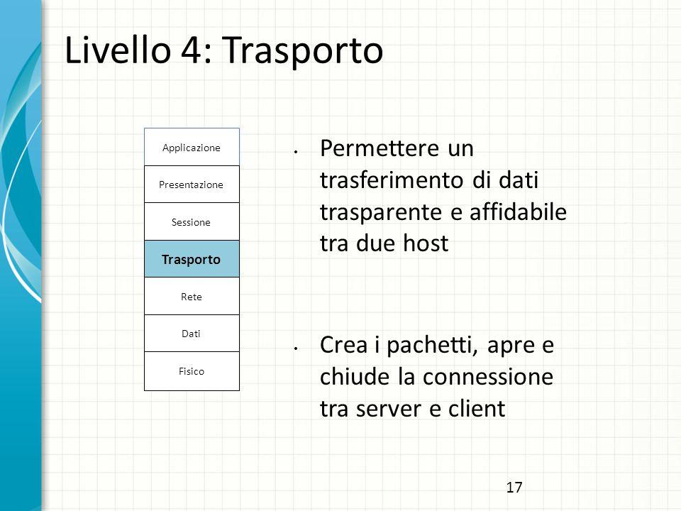 Livello 4: Trasporto Permettere un trasferimento di dati trasparente e affidabile tra due host Crea i pachetti, apre e chiude la connessione tra server e client Applicazione Presentazione Sessione Trasporto Rete Dati Fisico 17