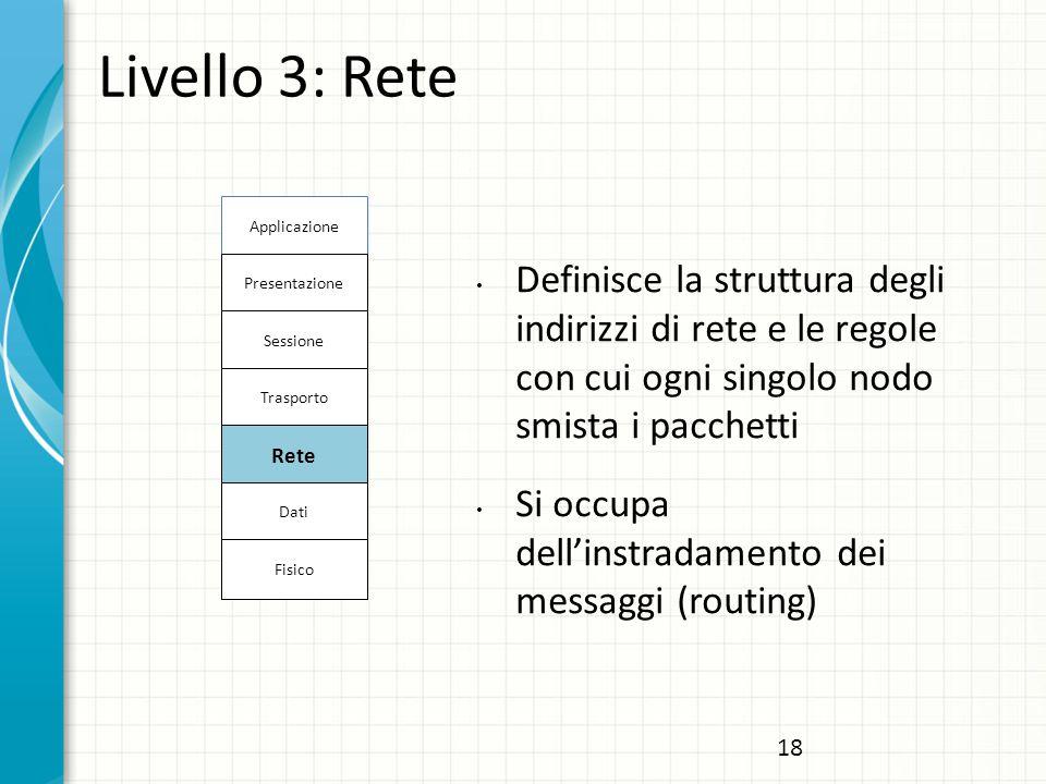 Livello 3: Rete Definisce la struttura degli indirizzi di rete e le regole con cui ogni singolo nodo smista i pacchetti Si occupa dell'instradamento dei messaggi (routing) Applicazione Presentazione Sessione Trasporto Rete Dati Fisico 18