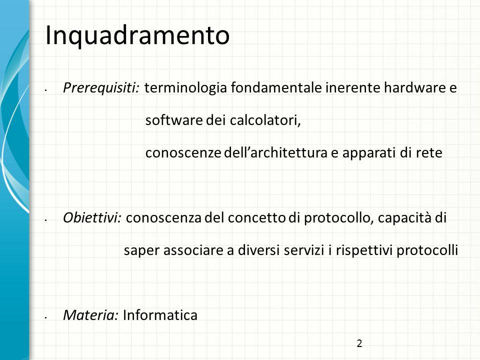 Inquadramento Prerequisiti: terminologia fondamentale inerente hardware e software dei calcolatori, conoscenze dell'architettura e apparati di rete Obiettivi: conoscenza del concetto di protocollo, capacità di saper associare a diversi servizi i rispettivi protocolli Materia: Informatica 2