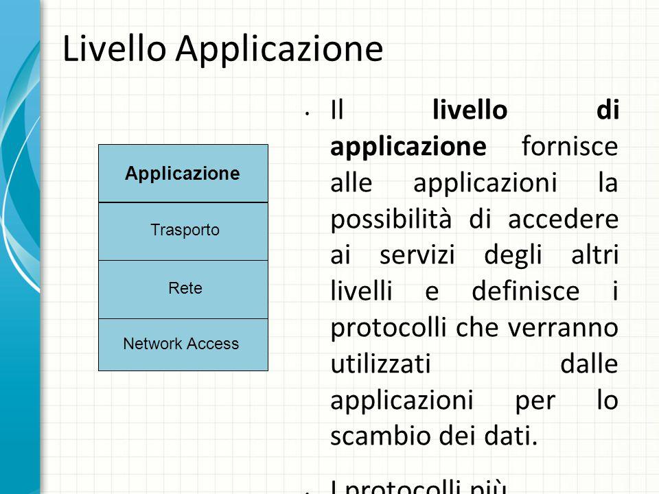 Livello Applicazione Il livello di applicazione fornisce alle applicazioni la possibilità di accedere ai servizi degli altri livelli e definisce i protocolli che verranno utilizzati dalle applicazioni per lo scambio dei dati.