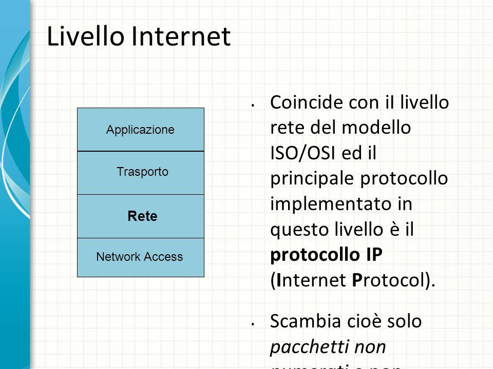 Livello Internet Coincide con iI livello rete del modello ISO/OSI ed il principale protocollo implementato in questo livello è il protocollo IP (Internet Protocol).