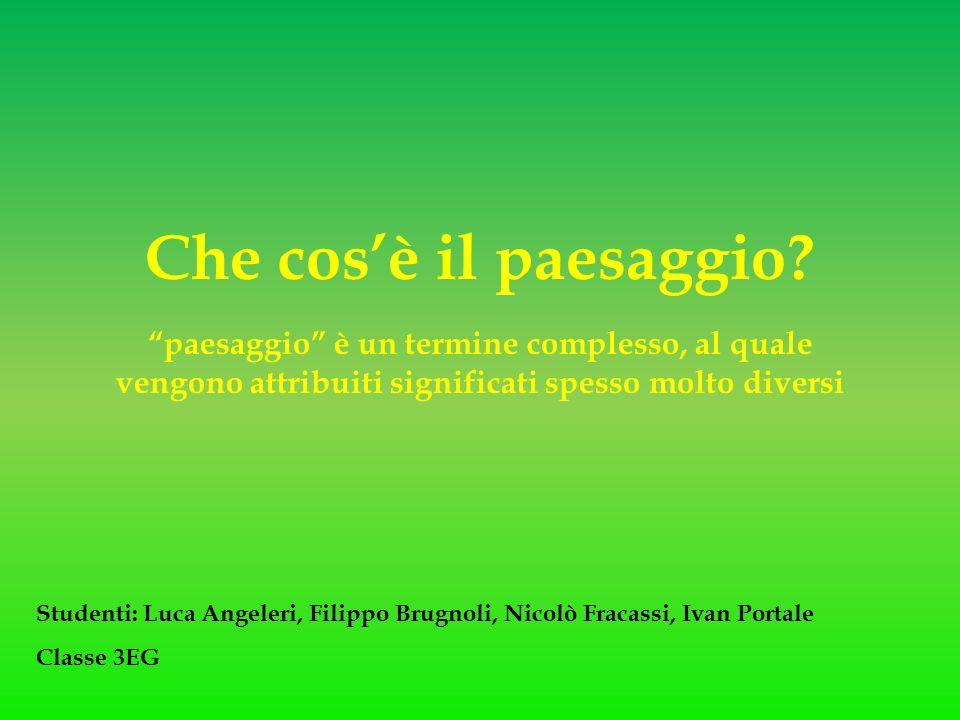"""Che cos'è il paesaggio? """"paesaggio"""" è un termine complesso, al quale vengono attribuiti significati spesso molto diversi Studenti: Luca Angeleri, Fili"""