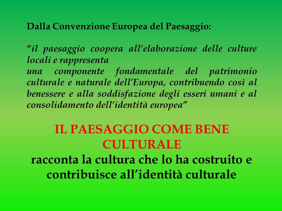 """Dalla Convenzione Europea del Paesaggio: """" il paesaggio coopera all'elaborazione delle culture locali e rappresenta una componente fondamentale del pa"""
