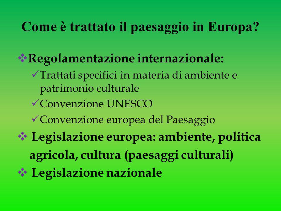Come è trattato il paesaggio in Europa?  Regolamentazione internazionale: Trattati specifici in materia di ambiente e patrimonio culturale Convenzion