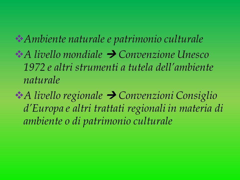  Ambiente naturale e patrimonio culturale  A livello mondiale  Convenzione Unesco 1972 e altri strumenti a tutela dell'ambiente naturale  A livell