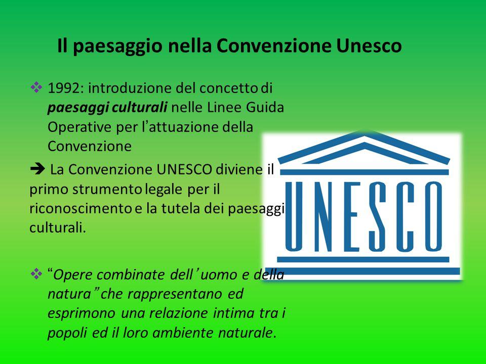 Il paesaggio nella Convenzione Unesco  1992: introduzione del concetto di paesaggi culturali nelle Linee Guida Operative per l'attuazione della Conve