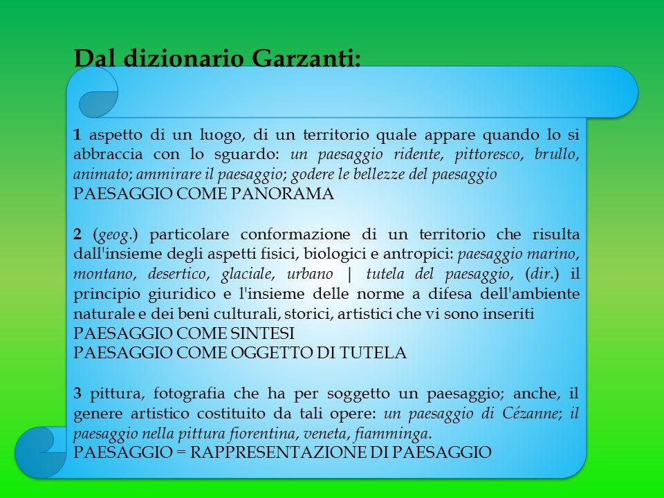 Dal dizionario Garzanti: 1 aspetto di un luogo, di un territorio quale appare quando lo si abbraccia con lo sguardo: un paesaggio ridente, pittoresco,