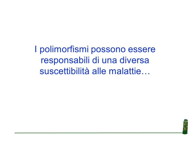 I polimorfismi possono essere responsabili di una diversa suscettibilità alle malattie…