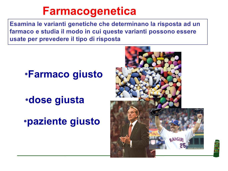 paziente giusto Farmaco giusto dose giusta Esamina le varianti genetiche che determinano la risposta ad un farmaco e studia il modo in cui queste varianti possono essere usate per prevedere il tipo di risposta Farmacogenetica
