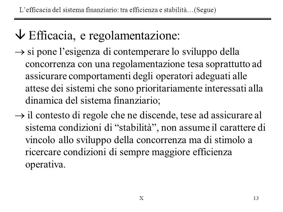 X13 â Efficacia, e regolamentazione:  si pone l'esigenza di contemperare lo sviluppo della concorrenza con una regolamentazione tesa soprattutto ad a