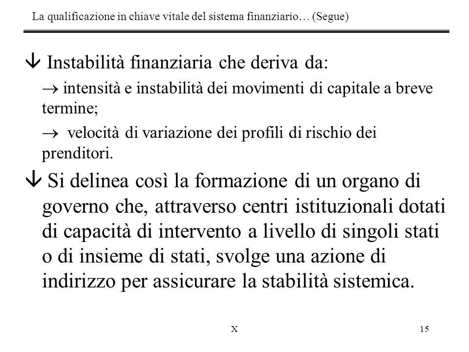 X15 â Instabilità finanziaria che deriva da:  intensità e instabilità dei movimenti di capitale a breve termine;  velocità di variazione dei profili di rischio dei prenditori.