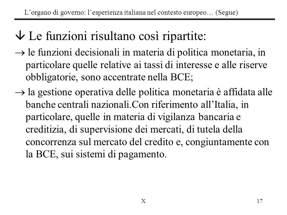 X17 L'organo di governo: l'esperienza italiana nel contesto europeo… (Segue) â Le funzioni risultano così ripartite:  le funzioni decisionali in mate