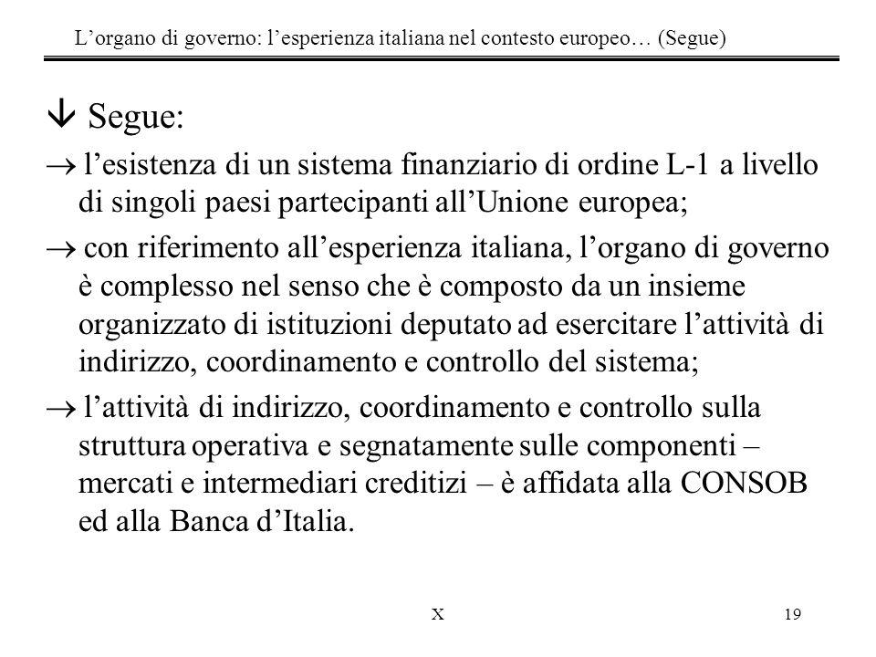 X19 â Segue:  l'esistenza di un sistema finanziario di ordine L-1 a livello di singoli paesi partecipanti all'Unione europea;  con riferimento all'esperienza italiana, l'organo di governo è complesso nel senso che è composto da un insieme organizzato di istituzioni deputato ad esercitare l'attività di indirizzo, coordinamento e controllo del sistema;  l'attività di indirizzo, coordinamento e controllo sulla struttura operativa e segnatamente sulle componenti – mercati e intermediari creditizi – è affidata alla CONSOB ed alla Banca d'Italia.