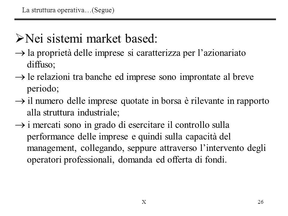 X26  Nei sistemi market based:  la proprietà delle imprese si caratterizza per l'azionariato diffuso;  le relazioni tra banche ed imprese sono impr